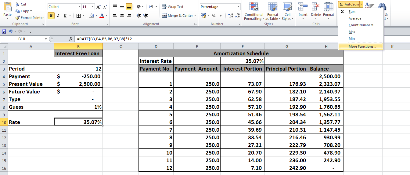 loan amortization schedule excel 2010