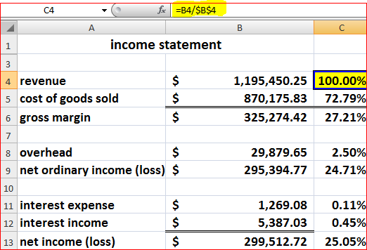 financial statements and ratios in excel 2010