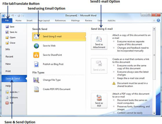 Open the document you want to send using e mail as an attachement