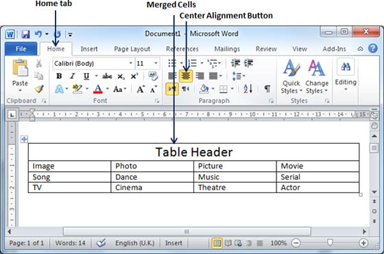 Word 2010 merging cells for Table th center text