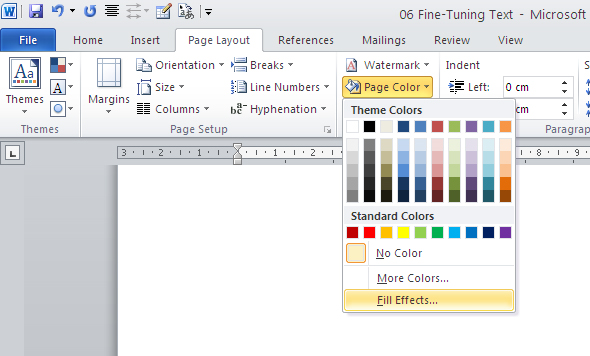 Changing A Documents Background In Word 2010